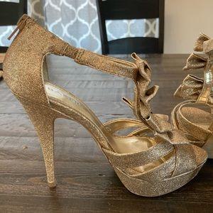 Bakers Hayleigh Gold glitter platform heels